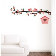 EJA Art couple of birds sitting on branches Wall Sticker (Material - PVC) (Pec - 1) With Free Set of 12 pec butterflies sticker
