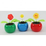 Set of 3 Dancing Flowers~ 1 Rose 1 Sunflower 1 Smiley Flower in Assorted Colorful Pots Solar Toy US Seller Great Birthda
