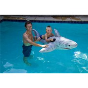 AquaFun White Shark Ride On Swimming Pool Toy / Float - 185 cm