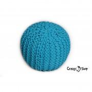 Pletený puf CRAZYSHOP SOLID Mini, tyrkysový (ručně pletený)