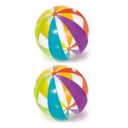 Geen 2x Grote opblaasbare strandballen transparant met kleuren 82 cm