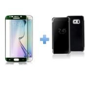 Bpfy® - New Product - S6 Edge+ Plus - Pack Etui De Protection Noir Miroir Format View Cover + Vitre De Protection Incurve Vert En Verre Trempe 9h - Pour Samsung Galaxy S6 Edge+ Plus - Meilleur Prix