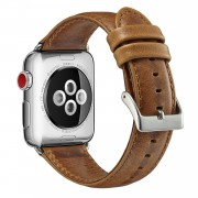 Top Layer Crazy Horse Cowhide Leather Watch Band for Apple Watch Series 5 4 44mm, Series 3 / 2 / 1 42mm - Brown
