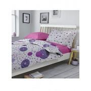 Lenjerie Dormisete, renforce imprimata, Kinetics-rose bloom, pat matrimonial, bumbac, 220 x 250 cm, Rosu
