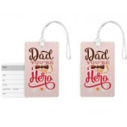 100yellow Luggage Tags- Dad You're My Hero Printed High Quality PVC Bag Tag with Silicon Strap- Gift For Father-Pack Of 2 Luggage Tag(Multicolor)