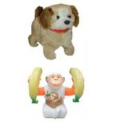 Shop & Shoppee Jumping Puppy Dog and Banana Monkey