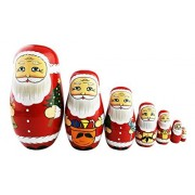 Cute Creative Santa Claus's Bringing Kinds Of Gifts To You Pattern Handmade Wooden Matryoshka Dolls Russian Nesting Dolls Set 7 Pieces For Kids Toy Birthday Christmas Gift Home Decoration