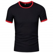 Camisa Simple Round Collar Short Sleeve T-Shirt-Nergo