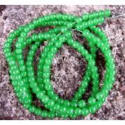 Glaspärlor runda - Jelly grön, 4mm, 1 sträng