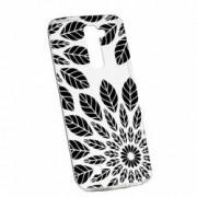 Husa Silicon Transparent Slim Black Flower LG G7 ThinQ
