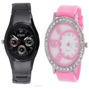 Rosra Black Men and Glory Pink Round Dial Butterfly Women Watches Couple for Men and Women