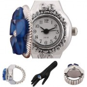 New Finger Ring Watch Stretchable Strep Blue Diamond Flower Stylist Looking Analog Watch For Women