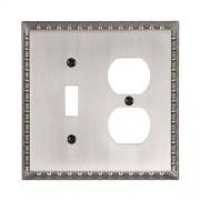 Amertac (AMCQ7) Amertac 90TDAN Egg & Dart Antique Nickel Cast Wall Plate, 1 Toggle/1 Duplex