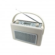 Radio am/fm con usb recubierta de polipiel color vainilla