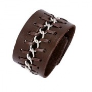 The Jewelbox Funky Casual Chain Dark Brown 100 Genuine Handcrafted Leather Wrist Band Strap Biker Bracelet Boys Men