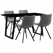 vidaXL Set mobilier bucătărie, 5 piese, gri, piele ecologică