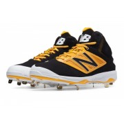 New Balance Mid-Cut 4040v3 Metal Baseball Cleat Black with Yellow