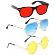 Elligator Aviator, Round, Wayfarer Sunglasses(Red, Blue, Yellow)