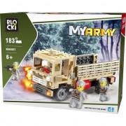 Joc constructie Blocki , Camion militar, 183 piese , Robentoys®