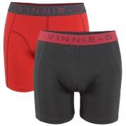 Vinnie-G Flamingo boxershorts 2-pack Rood/Antraciet Uni -XXL