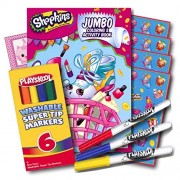 Shopkins Coloring Book with Stickers and Washable Markers ~ 96 Page Coloring Book, Shopkins Stickers, Washable Markers & Bonus Sticker!