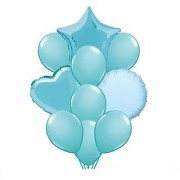 Stylewell Set of 10 Soild Attractive Blue Color 18 Inch 3d Foil Toy Balloons For Birthday Anniversary Party Decoration