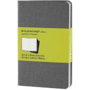 Moleskine Pebble Grey Plain Cahier Pocket Journal (3 Set), Hardcover