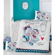 Lenjerie de pătuț copii Valentini Bianco VKB10/Travel Bears