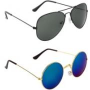 Zyaden Aviator, Round Sunglasses(Black, Blue, Green)