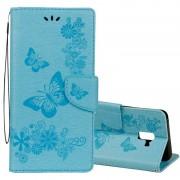 Samsung Voor Galaxy A8 (2018) reliëf Vintage bloemen vlinder patroon horizontale Flip lederen draagtas met kaartslot & houder & portemonnee & Lanyard(Blue)