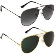 Marabous Aviator Sunglasses(Black, Violet, Green)