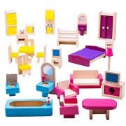 Bigjigs Toys JT116 Heritage Playset Dolls Furniture Set