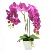 Aranjament Floral Orhidee Artificiala in Ghiveci cu 2 Tulpini, Aspect Natural, Culoare Violet