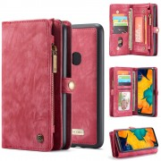 CASEME 008 Series for Samsung Galaxy A40 2-in-1 Multi-slot Wallet Vintage Split Leather Phone Cover - Red
