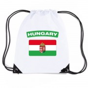 Bellatio Decorations Hongarije nylon rugzak wit met Hongaarse vlag