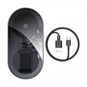 Baseus Egyszerű Pro 2in1 vezeték nélküli töltő Qi töltő okostelefonok és AirPods 15W átlátszó (WXJK-CA02)
