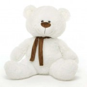 White 5 Feet Big Teddy Bear with Muffler
