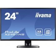 LED-monitor 59.9 cm (23.6 inch) Iiyama X2481HS-B1 Energielabel B 1920 x 1080 pix Full HD 6 ms VGA, DVI, HDMI VA LED