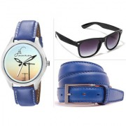 Combo of Elegant Graphic Round Dial Blue Strap Analog Wrist Watch Blue Belt And Glasses