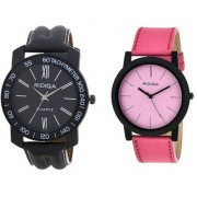 RIDIQA Black Strap White Dail Combo Watches for cauple combo RD-113-046