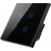 Intrerupator inteligent de perete WiFi cu touch cu sau fara nul 4 canale compatibil TuyaSmart SmartLife IFTTT Google Home Amazon Alexa
