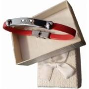 Bratara rosie gravata Litera M cu inima in cutie cadou + CADOU