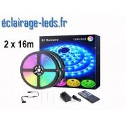Bandeau LED RGB 32m (2x16m) IP20 éclairage piloté par signal radio. ref bl-25