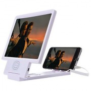3D Folding HD Mobile Phone Screen Magnifier Stand with Built in Speakers White