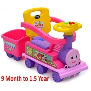 Train Ride-On Kids Ride On Train Walker with Backrest and Music Children's Wheelchair Train, Kids Train Ride on with Trailer Caravan, Steam Train Happy Friends, 9 Month to 1.5 Year, Pink Color