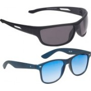 Vast Wayfarer, Wrap-around Sunglasses(Blue, Grey)