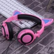 EB Auriculares Con Orejas De Gato Auriculares Plegables De Computadora Portátil Con Luz LED Auriculares Rosa