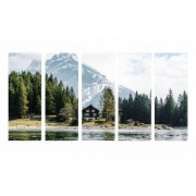 Set Tablouri Multicanvas 5 Piese Casa din Munti - 90 x 150 cm