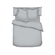 CONFORAMA Parure housse de couette 260x240 cm +2 taies d'oreiller SATINA coloris gris