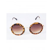 Trendy zonnebril met ronde luipaardprint frame